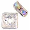 Rhinestone Square Rondelle (Flat) 4X4mm Crystal Aurora Borealis/silver
